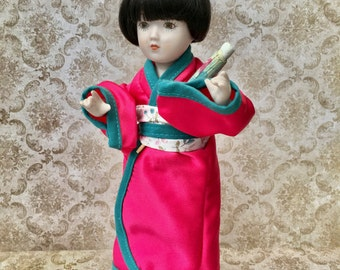 """Sweet Little Vintage Doll """"Akiko"""" From the World Collection by the Danbury Mint 1988"""