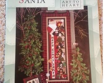 Here Comes Santa by Nancy Halvorsen -  Art to Heart - Seasonal Primitive Quilt Applique Pattern book - Stitchery - Christmas Ornaments