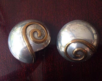 SNAIL SHELL Silver and bronze EARRINGS Medium
