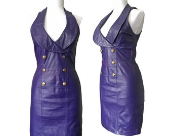 Vintage Purple Leather Body Con Dress — XS