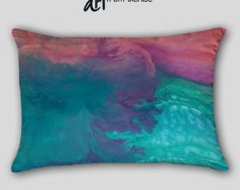 Turquoise lumbar pillow, Coral purple teal, Toss pillow cover case, Master bedroom decor, Blue Abstract art, Home decor