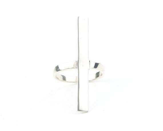 Sterling Silver Long Bar Ring, Geometric Ring, Minimalist Ring, Modern Jewelry, Simple