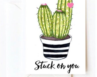 Stuck on you Valentines Day Card