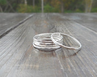 Four (4) Silver Stacking Rings || Thin Silver Ring Set || Sterling Silver .925 || Custom Sizing