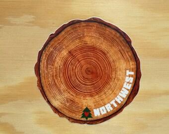 Northwest Tree Rings Sticker -- Pacific Northwest Tree Decal -- NW Tree Sticker -- Timber -- Logger -- Lumber -- Lumberjack