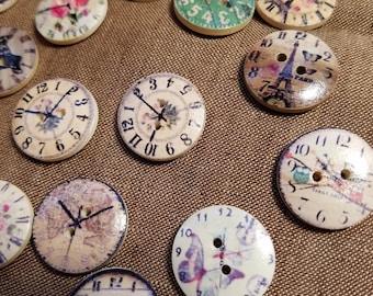 Cute Wooden Clock Buttons - Set of 8