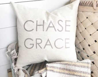 Chase Grace Pillow Cover 18 x 18 // Accent Pillow / Throw Pillow / Christian Decor / Gift / Christian / Grace / Grace Pillow /
