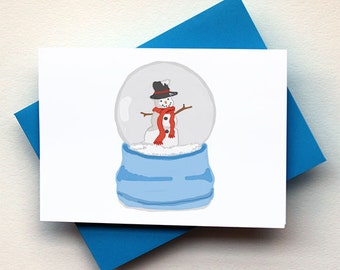 Snowman Snow Globe Card