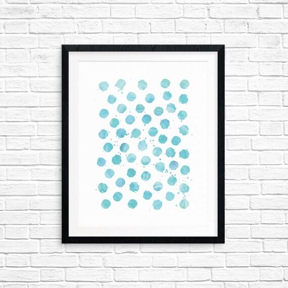 Printable Art, Aqua Watercolor Circles, Pattern, Modern Art, Minimalist Art, Art Printable, Home Decor, Digital Download Print