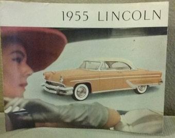 """Large 14"""" x 11"""" 1955 Lincoln Original Dealer Sales Brochure"""