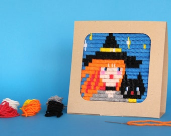 Witch with Cat, Halloween embroidery kit for girls and moms - embroidery kit for beginne, DIY kids kit - birthday gift craft  kit