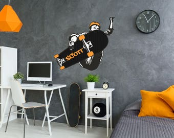 Personalized Skateboarder Wall Decal-skateboarder, customizable, personalized, teens room, bedroom wall art, kids room
