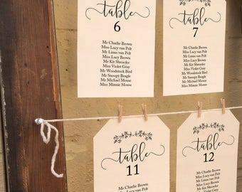 Wedding Seating Chart Template, Printable Wedding Seating Plan, Wedding Seating Cards, Wedding Seating Chart, Printable Floral Seating Plan