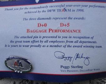 vintage AMERICAN Airlines Co.Advertising Logo 3 diamonds Service Award pin, pinback, award pin, employee pin, lapel pin