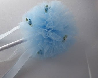 flower girl wand/ flower girl/ childs wand/ fairy wand/ flower girl flowers/ pom pom wand/ kids wand/ wand/ tulle wand/ wedding wand