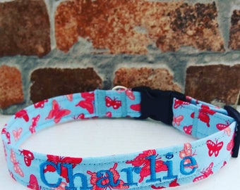 Personalized Dog Collar, Personalised Collar, Personalized Collar, Dog Collar, Large Dog Collar, Small Dog Collar, Bow Tie Dog, Butterfly