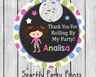 Polka Dots Roller Skating Party Stickers, Roller Skating Stickers, Roller Skating Thank You Stickers, Birthday Stickers, Printed and Shipped