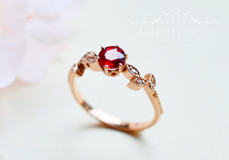 Julys birthstone ruby etsy ruby engagement ring with diamonds petite floral leaf ring in natural ruby available in junglespirit Images