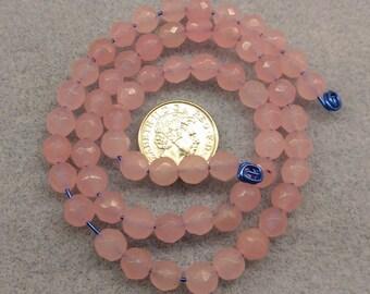 Faceted Rose Quartz 6mm beads semi precious beads