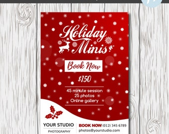 Holiday Mini Session Template, Christmas Mini Session Template, Photography Marketing Template, Holiday Marketing Template, Photographer,Red