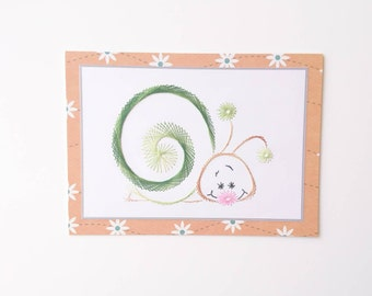 Greetings card, Birthday card, Hand-stitched greetings card, Hand-stitched birthday card, Snail, Snail card