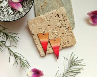 Red ombre earrings ~ laser cut wooden earrings ~ wooden spike earrings ~ statement earrings ~ jewelry gifts for her ~ architectural earrings