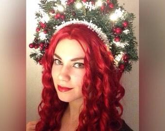 Christmas lights holidays winter flower crown headpiece