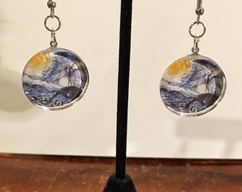 Jack and a starry night inspired, circle earrings