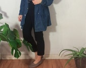 Vintage 90's   Ralph Lauren denim anorak / Unisex blue cotton jacket / Oversized lightweight coat / Minimal hooded denim coat   Size medium