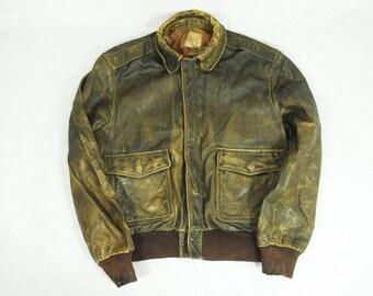 "Vintage Distressed Worn Golden Bear Brown Leather American Flight Style Jacket 42"""