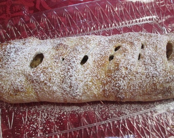 APPLE STRUDEL with RAISINS/ Dusted with Powdered Sugar