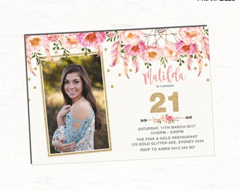 21st Birthday Invitation. Floral Boho Party Invitation. Pink and Gold Bohemian Flowers. Teens. Girly Feathers. Glitter. Flowers. FLO12A