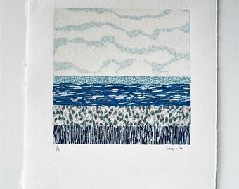 Original Linocut, Abstract Landscape, Blue Art Print, Sea Landscape Art, Abstract Sea, Linocut Print, Block Print Art, Wall Art Print Gift