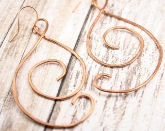 Handmade Copper Swirl Earrings - Big Bold Copper Earrings - Hand Forged Copper Earrings - Big Handmade Earrings - Hammered Copper Earrings