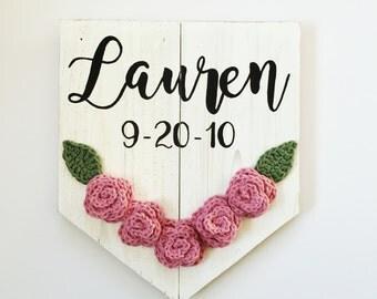 Floral Nursery Sign, Custom Name Birthdate Sign, Nursery Decor, Personalized Nursery Sign, Baby Shower Gift, Baby Girl Nursery Decor