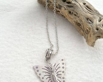 Antique Silver Necklace with Large Butterfly Pendant (1294)