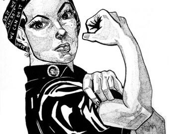 ROSIE THE RIVETER (woman realist portrait, original black ink illustration, print)
