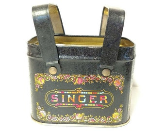 Singer Tin Can Storage Bin With Handles