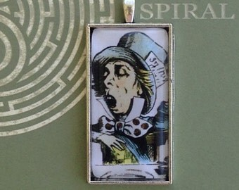 Alice in Wonderland - Classic Mad Hatter - Glass Dome Rectangle Pendant Necklace