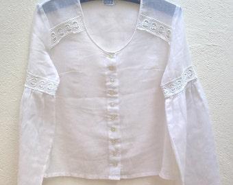 Vintage white boho blouse Size 38 FR