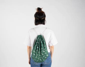 Wrap in green and white pattern fabric backpack branches