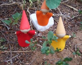 Waldorf gnomes, Autumn gnomes, wooden toys, felt people, fall