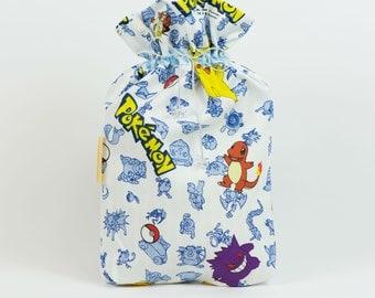 Pokemon underwear bag, Christmas gift bag, Handmade fabric bag, cotton toy bag, drawstring pouch, pyjama bag, lego bag, pokemon gift