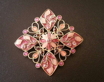 Vintage Open Design, Variations of Pink Enamel Paint, Pink Brooch, Purple Brooch, Cabochons and Rhinestones Brooch, Gold Tone (A-BRO-140)a