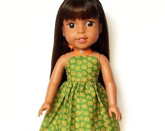 Halter Dress, Floral, Green, Orange, 14.5, AG Wellie Wishers Doll Clothes