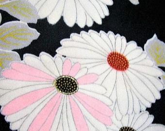 293: Japanese vintage kimono silk dark-green white gray pink flower chrysanthemum