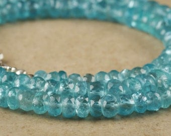 18in Sky BLUE APATITE Necklace Faceted Bead Necklace - Chakra Jewelry with Graduated Apatite Beads and Sterling Silver Clasp J859