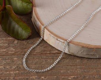 18 inch Silver Chain Necklace - Silver Plated Chain, Silver Necklace Chain, Cable Chain, Jewelry Making E0039