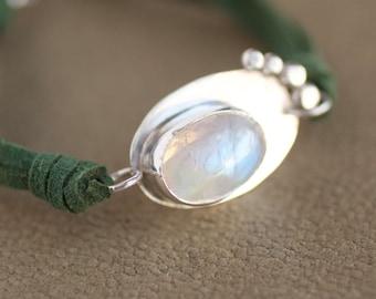 BADRANI, pulsera piedra luna plata de ley-hecho a mano