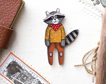 Raccoon brooch, Raccoon pin, Wooden brooch, Wooden pin, Raccoon wooden,  Raccoon wooden pin, Animal Pin, Animal brooch, For her, For him